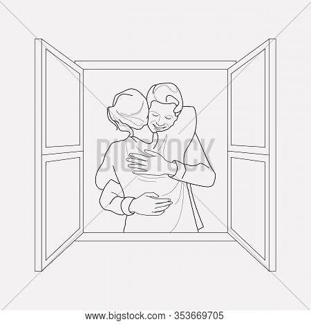 Hugging Day Icon Line Element. Vector Illustration Of Hugging Day Icon Line Isolated On Clean Backgr