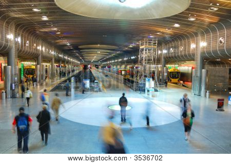 People Motion On Subway Platform