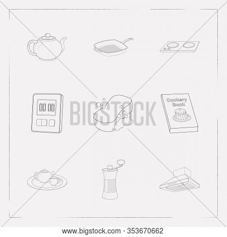 Set Of Equipment Icons Line Style Symbols With Pepper Mill, Cookery Book, Sponge And Other Icons For