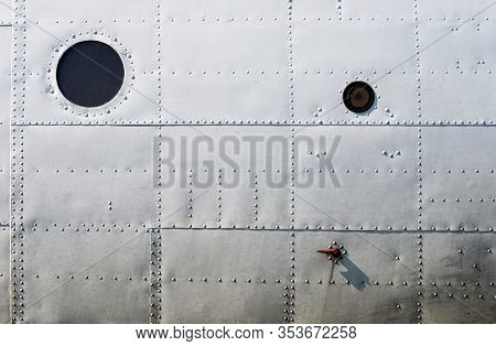 Metal Aluminum Surface Of The Old Dirty Aircraft Fuselage Texture