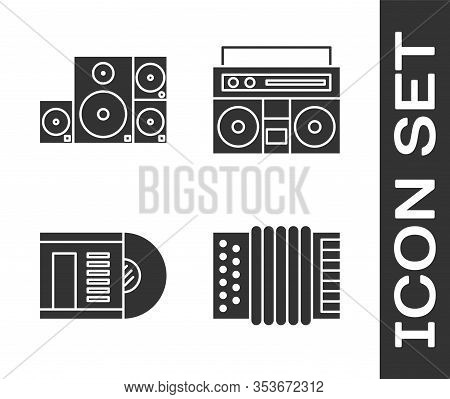 Set Musical Instrument Accordion, Stereo Speaker, Vinyl Disk And Home Stereo With Two Speakers Icon.