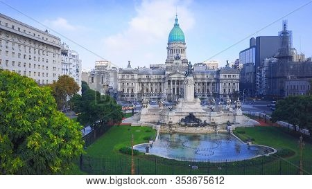 Aerial view of the Congress building in the city of Buenos Aires in Argentina
