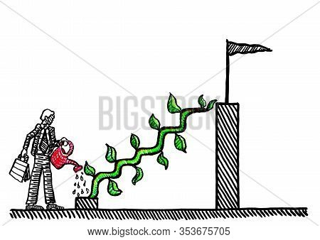 Freehand Pen Drawing Of Business Manager Watering Creeper Plant To Grow Stairs To Top Of Bar Chart.