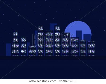 Night Cityscape With Starry Sky And Moon. City View At Dusk. Light In The Windows. Vector Illustrati