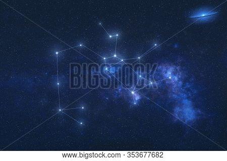 Sagittarius Constellation Stars In Outer Space. Zodiac Sign Aquarius Constellation Lines. Elements O