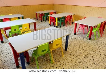 Empty Classroom Of A School Due To The Child Flu Epidemic