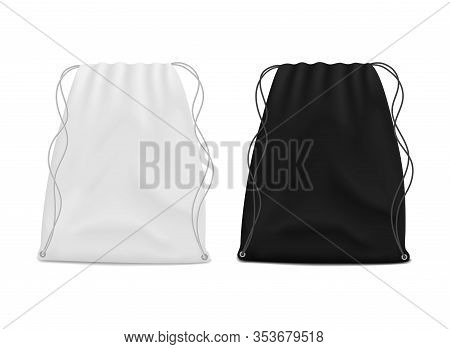 White And Black Drawstring Bags Mockup. School Backpack For Packing Clothes. Canvas Pouch, Knapsack