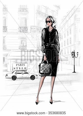 Hand Drawn Beautiful Young Woman In Black Dress. Fashion Woman With Bag. Girl In Black Shoes With Pa