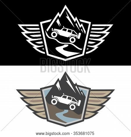 4x4 Offroad Adventure Isolated Vector Illustration In Both Color And Black And White