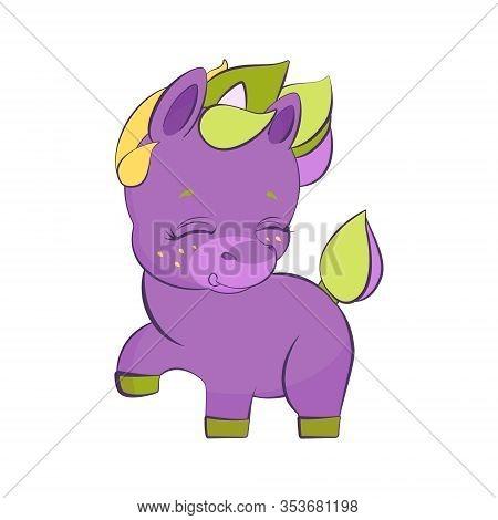 Cute Little Purple Unicorn Pounding A Hoof In Stars