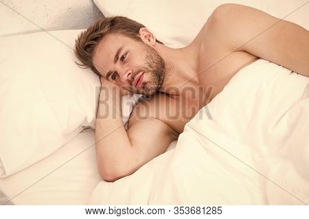 Time For Relax. Relax Techniques. Perfect Rest. Man Handsome Guy Relax In Bed. Get Enough Amount Of