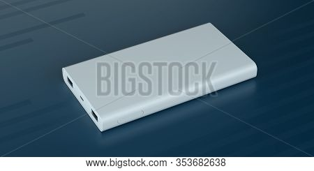 Blank Template Of Modern Power Bank Battery Device. Corporate Promo Gifts Mockup 3d Render