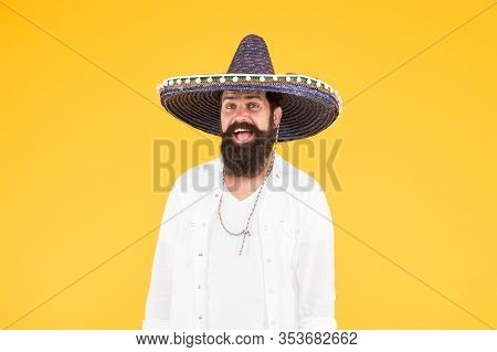 Mexican Party. Man In Mexican Sombrero Hat. Celebrate Traditions. Hipster With Beard In Festive Somb