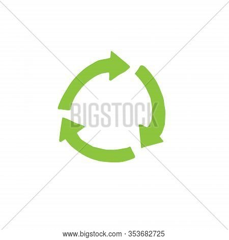 Vector Hand Drawn Doodle Sketch Green Round Recycle Symbol Isolated On White Background
