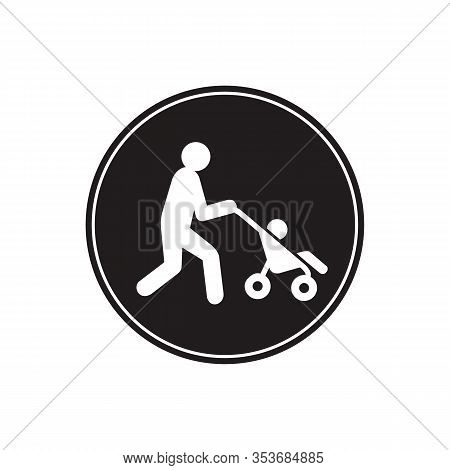 Man Walking With Baby Stroller Vector Sketch Icon Isolated On Background. Hand Drawn Man Walking Wit