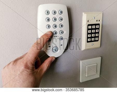 Finger Pressing Sos Alert Button For Emergency Call
