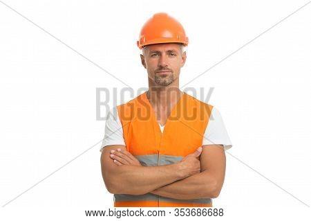 Design Future. Mature Man In Helmet. Works At Building Site. Builder In Protective Vest And Helmet.