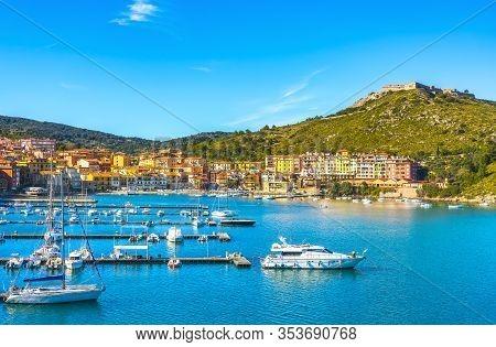 Porto Ercole Village And Boats In Harbor In A Sea Bay. Aerial View. Monte Argentario, Maremma Grosse