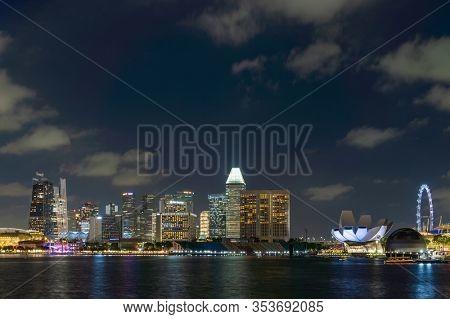 Singapore, Singapore - FEBRUARY 12, 2020: View at Singapore City Skyline at night