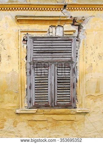 Old Wooden Window On The Wall Of An Old House In Novi Kozjak, Banat, Serbia