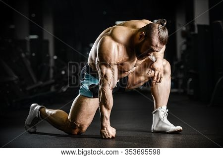 Bodybuilder Athletic Man Workout Muscles Exercise.
