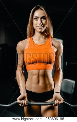 Fitness Woman Pumping Up Muscles Workout In Gym