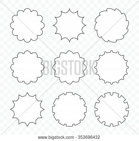 Set Of Decorative Stars, Gears, Speech Talking Bubbles For Your Design.