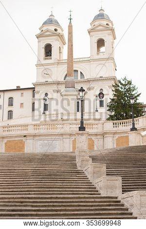 Rome. Italy - March 22, 2017: Spanish Steps in Rome, Italy. The Church of the Santissima Trinita dei Monti. No people.