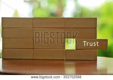Single Word - Trust.  Motivational Trust Word Written On Wooden Block . Building Trust Business Conc