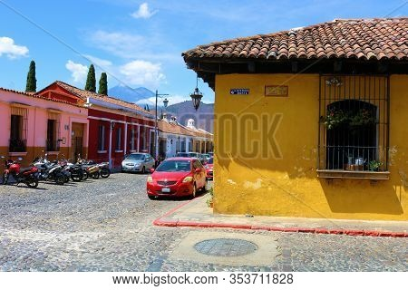 February 25, 2020 In Antigua, Guatemala:  Historical Spanish Colonial Style Buildings Besides Cobble