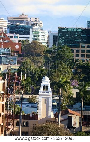 February 25, 2020 In Guatemala City, Guatemala:  Public Plaza Including A Clock Tower Surrounded By