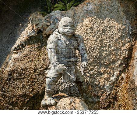 Chiang Rai, Thailand - February.10.2020: Ninja Turtle Statue In White Temple, Rong Khun Temple, Chia
