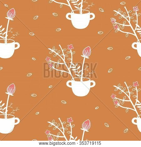 Leaves Nature Collection Illustration Seamless Pattern Background 04