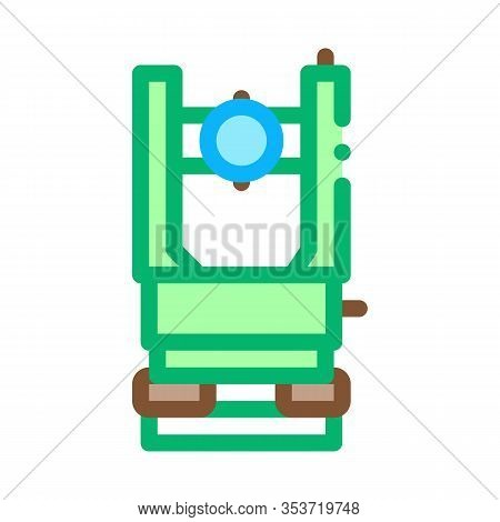 Optical Topography Equipment Icon Thin Line Vector. Engineering Level Topography Tool For Land Resea