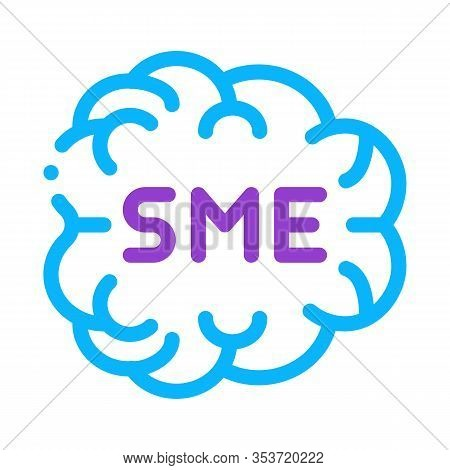 Human Brain Sme Business Icon Thin Line Vector. Sme Direction Of Thinking, Mind Anatomy Organ Color