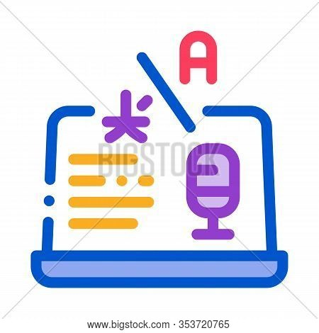 Laptop Translation Program Icon Thin Line Vector. Microphone On Laptop Display, Internet Interpreter
