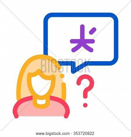 Woman Foreigner Silhouette Icon Thin Line Vector. Girl Foreigner Speaking Foreign National Language