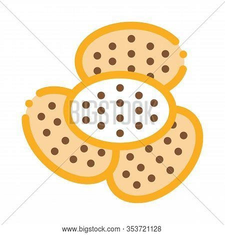 Bakery Cracker Tasty Food Icon Thin Line Vector. Heap Of Cracker Delicious Breakfast Snack Color Sym