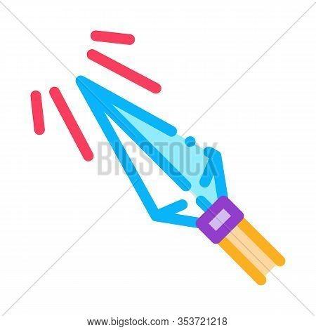 Sharp Arrowhead Archery Icon Thin Line Vector. Metallic Arrowhead, Arrow Steel Detail With Sun Rays
