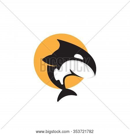 Cute Orca Killer Whale Jumping To Sun Moon Symbol Logo
