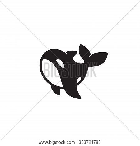 Cute Orca Killer Whale Simple Unique Symbol Logo