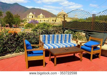 February 25, 2020 In Antigua, Guatemala:  Contemporary Style Patio With Comfortable Chairs And Table