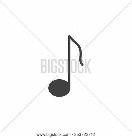 Quaver Note Vector Icon. Filled Flat Sign For Mobile Concept And Web Design. Music Note Glyph Icon.