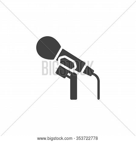 Stage Microphone Vector Icon. Karaoke Mic Filled Flat Sign For Mobile Concept And Web Design. Microp