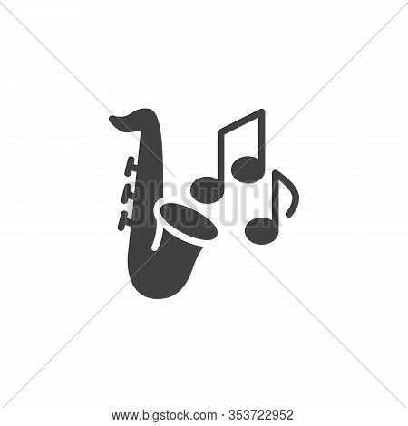 Saxophone And Music Notes Vector Icon. Filled Flat Sign For Mobile Concept And Web Design. Saxophone