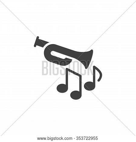 Trumpet Jazz Music Vector Icon. Filled Flat Sign For Mobile Concept And Web Design. Trumpet Music No