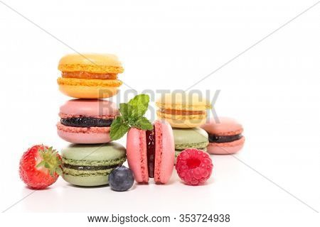 assorted of colorful french macaroons isolated on white background