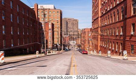 Pittsburgh, Pennsylvania, Usa 3/1/20 Stevenson Street In The Uptown Neighborhood Of The City Looking