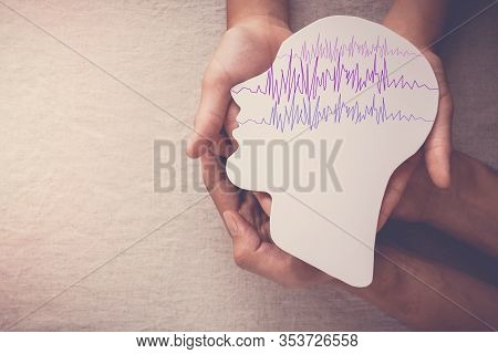 Adult And Child Hands Holding Encephalography Brain Paper Cutout, Epilepsy Awareness, Seizure Disord