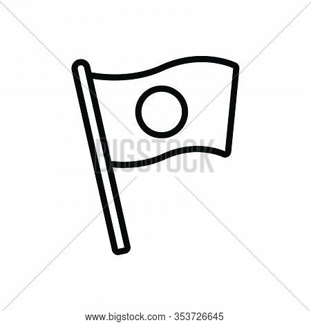 Black Line Icon For National Vernacular Flag Native Nationwide Culture Country Federal Patriotic